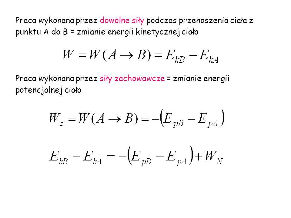 Praca wykonana przez dowolne siły podczas przenoszenia ciała z punktu A do B = zmianie energii kinetycznej ciała