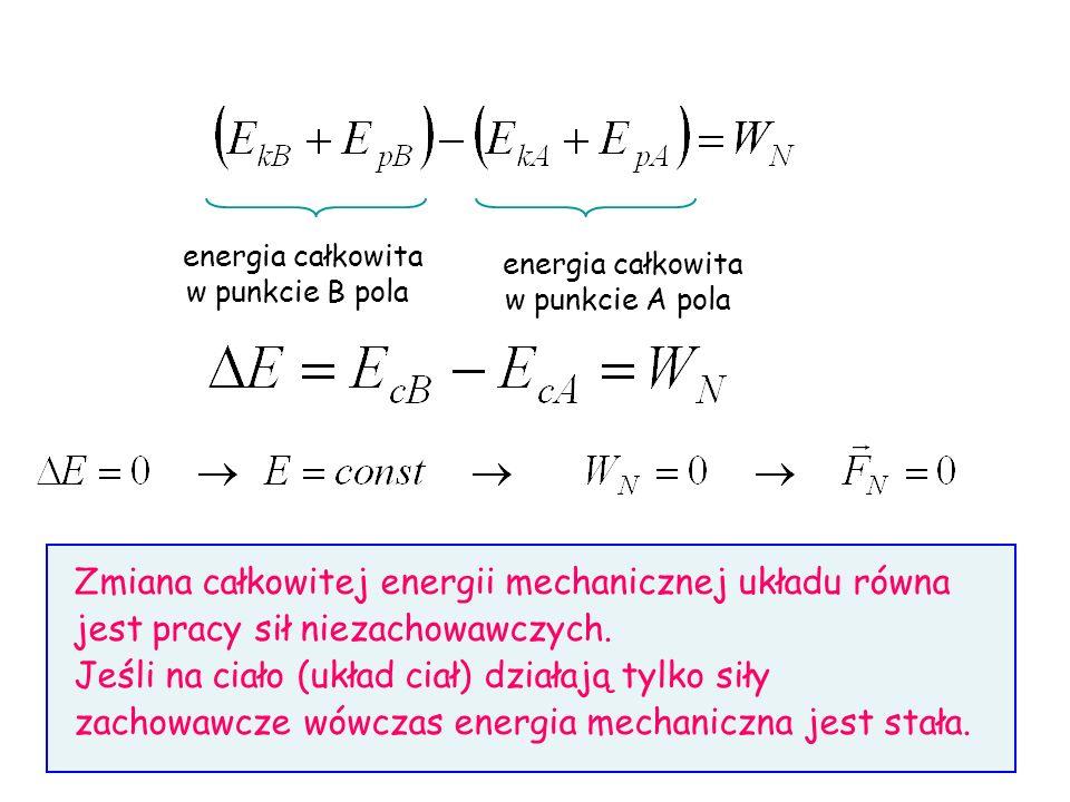 energia całkowita w punkcie B pola. energia całkowita. w punkcie A pola.