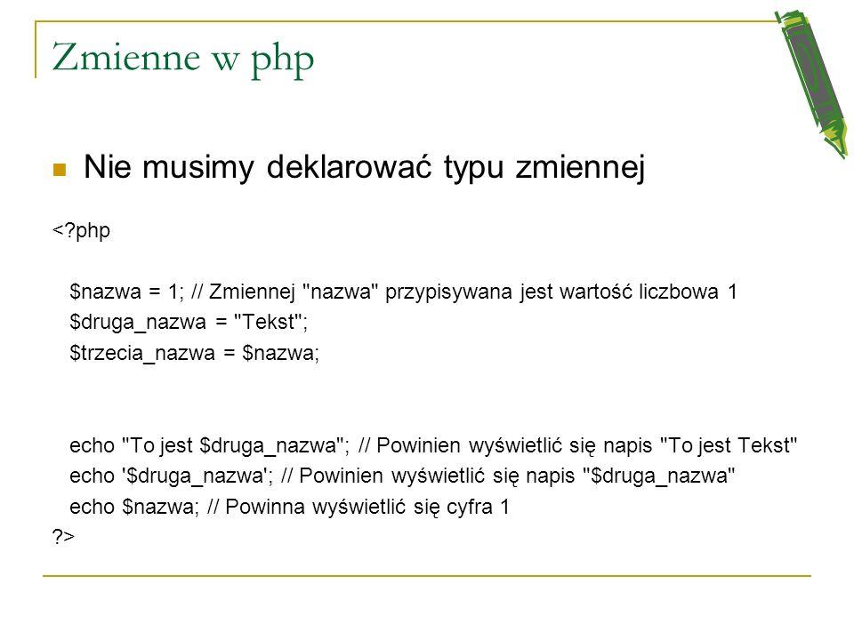 Zmienne w php Nie musimy deklarować typu zmiennej < php
