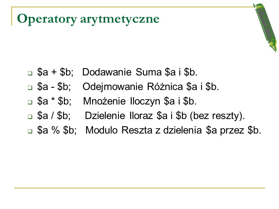 Operatory arytmetyczne