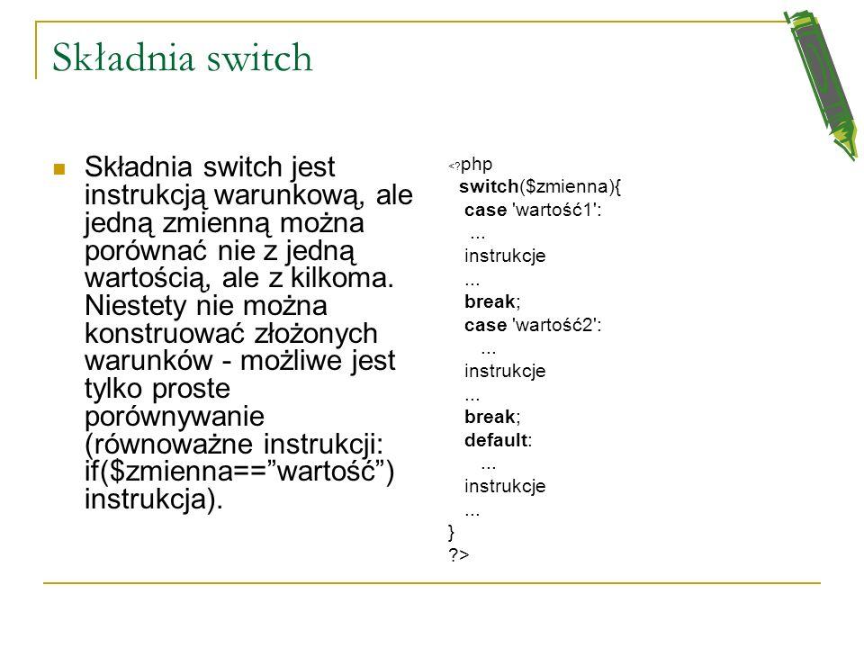 Składnia switch