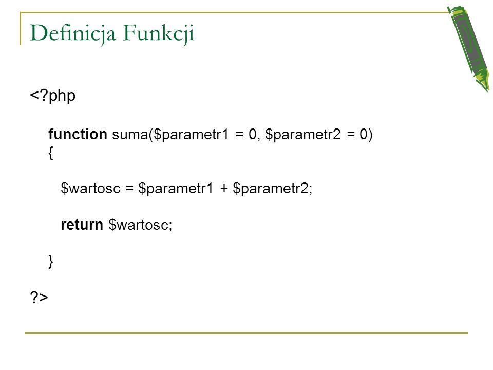 Definicja Funkcji < php >