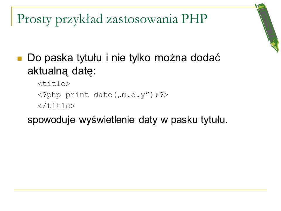 Prosty przykład zastosowania PHP