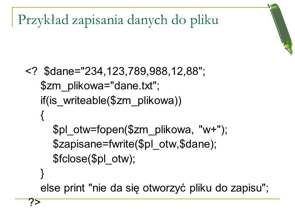 Przykład zapisania danych do pliku