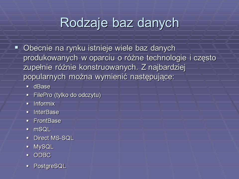 Rodzaje baz danych