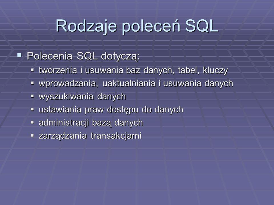 Rodzaje poleceń SQL Polecenia SQL dotyczą: