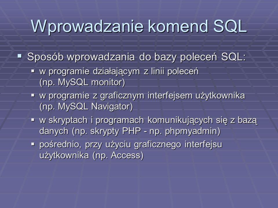 Wprowadzanie komend SQL