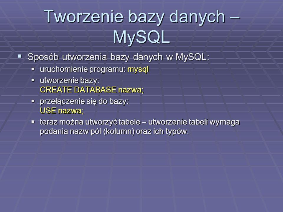 Tworzenie bazy danych – MySQL