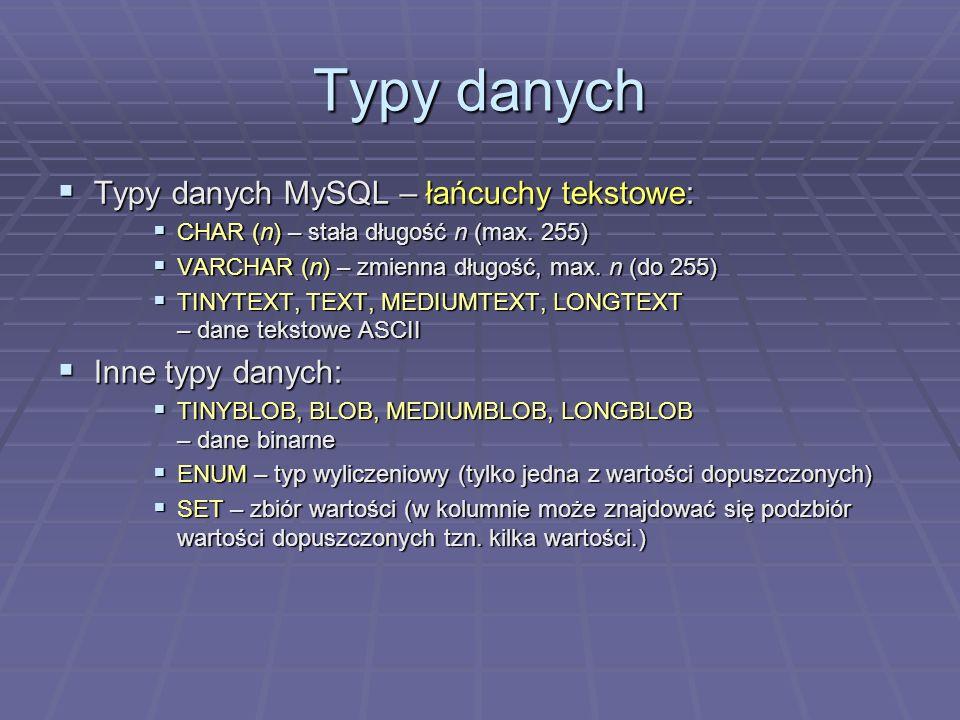Typy danych Typy danych MySQL – łańcuchy tekstowe: Inne typy danych: