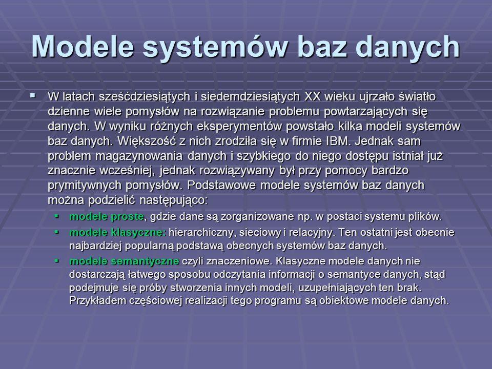 Modele systemów baz danych