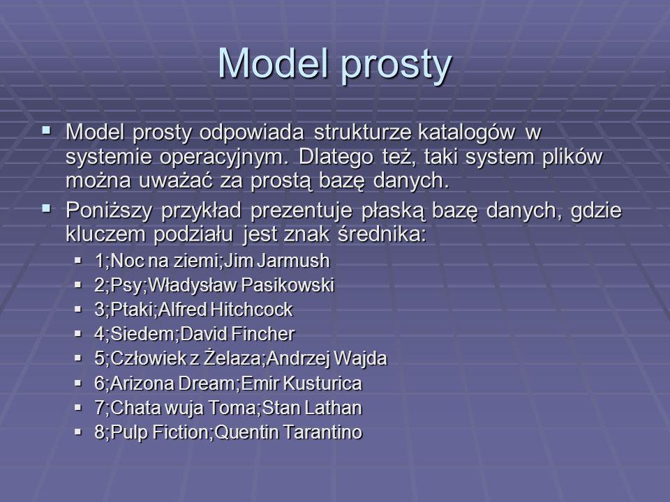 Model prosty Model prosty odpowiada strukturze katalogów w systemie operacyjnym. Dlatego też, taki system plików można uważać za prostą bazę danych.