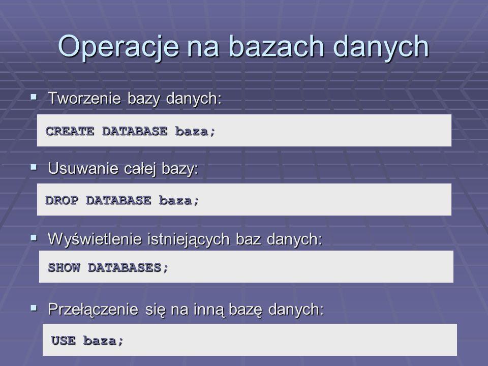 Operacje na bazach danych
