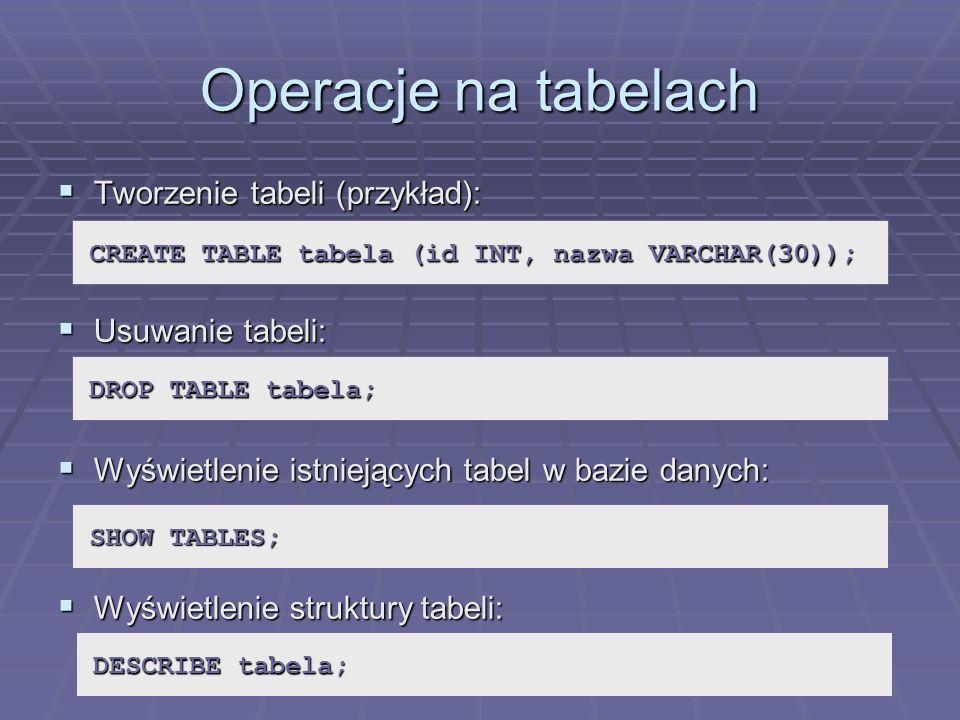 Operacje na tabelach Tworzenie tabeli (przykład): Usuwanie tabeli: