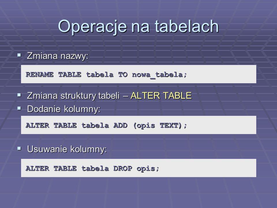Operacje na tabelach Zmiana nazwy: