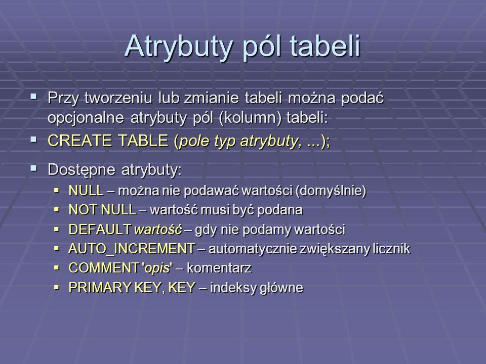 Atrybuty pól tabeli Przy tworzeniu lub zmianie tabeli można podać opcjonalne atrybuty pól (kolumn) tabeli: