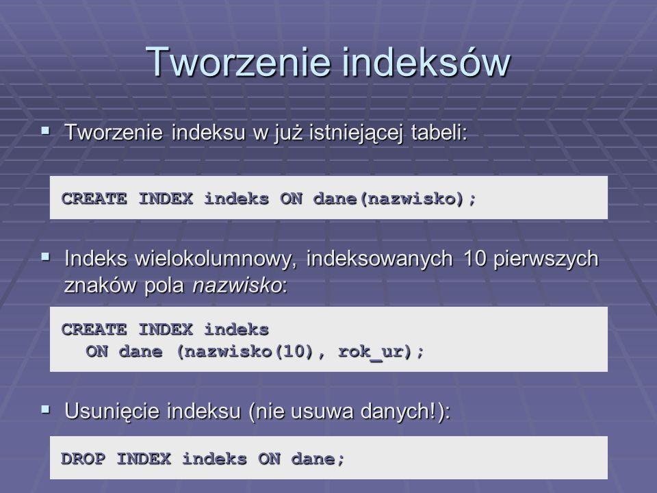Tworzenie indeksów Tworzenie indeksu w już istniejącej tabeli: