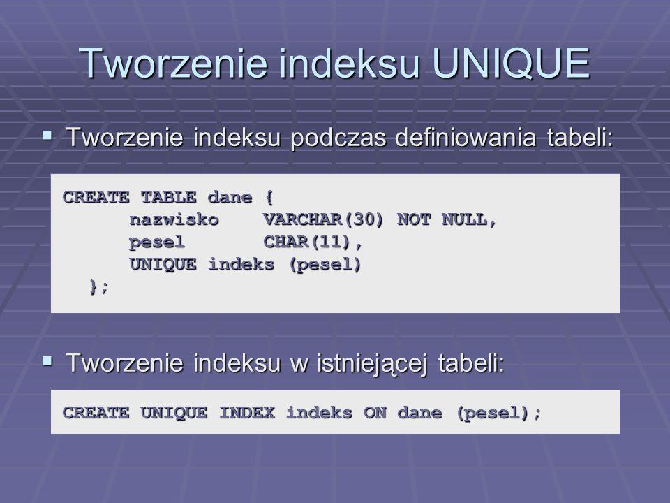 Tworzenie indeksu UNIQUE