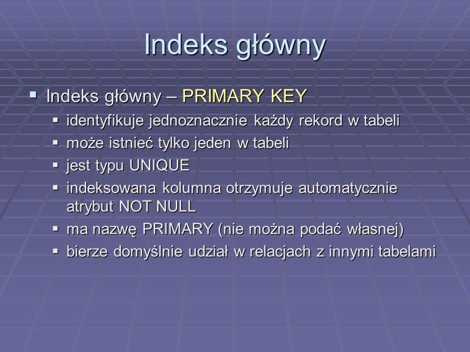 Indeks główny Indeks główny – PRIMARY KEY