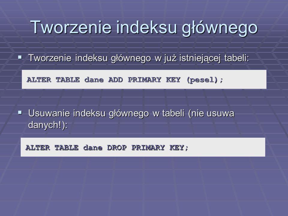 Tworzenie indeksu głównego