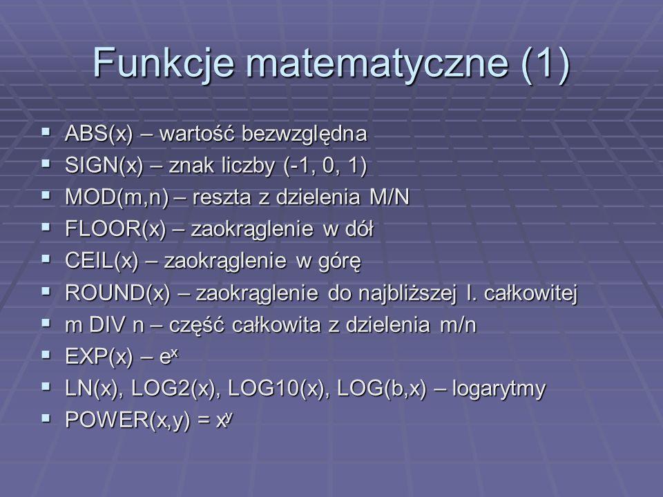 Funkcje matematyczne (1)