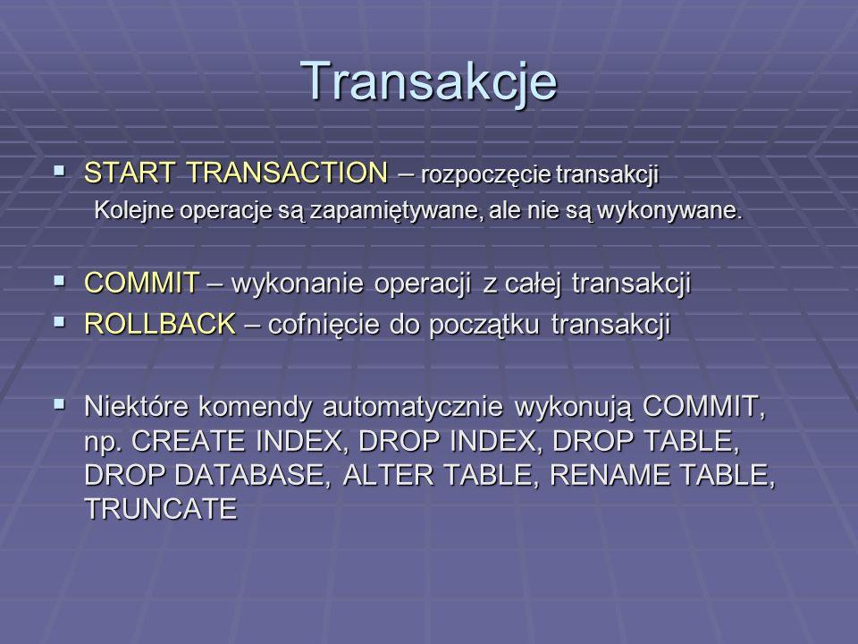 Transakcje START TRANSACTION – rozpoczęcie transakcji
