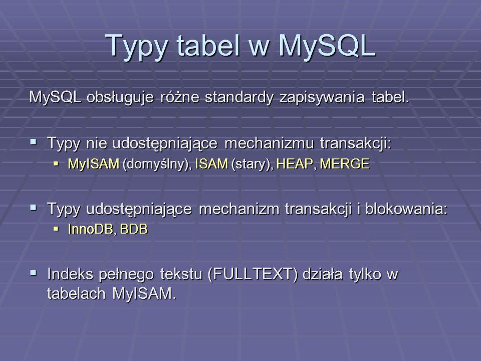 Typy tabel w MySQL MySQL obsługuje różne standardy zapisywania tabel.