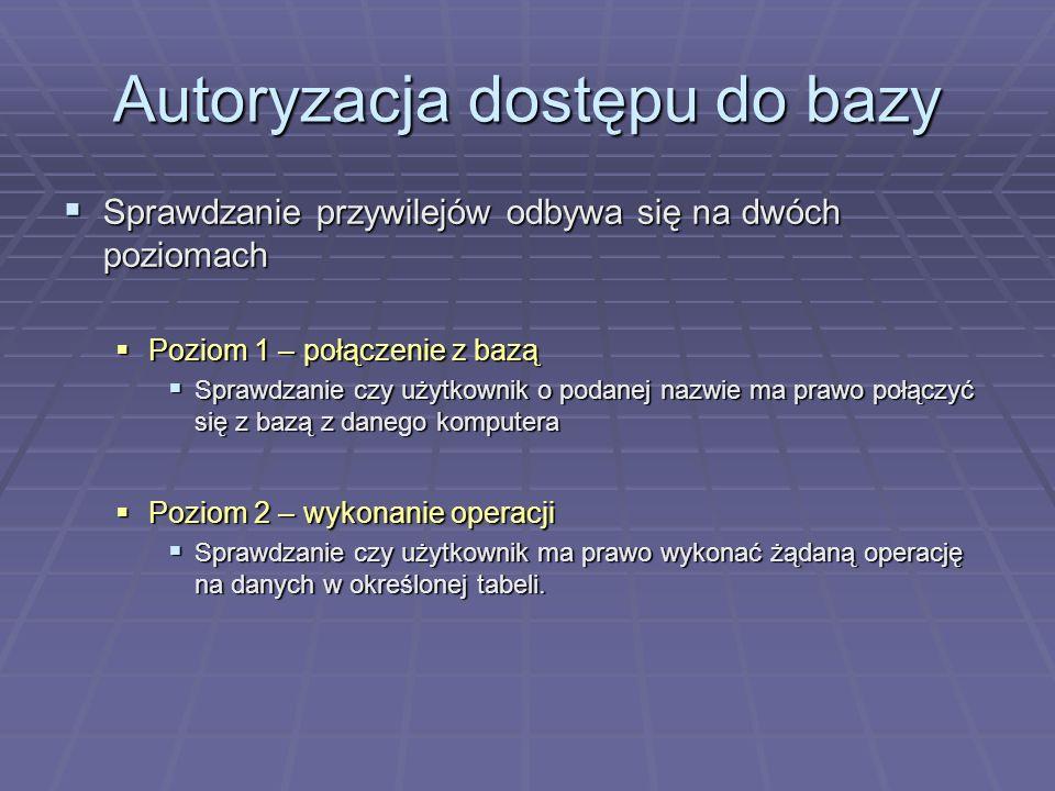 Autoryzacja dostępu do bazy
