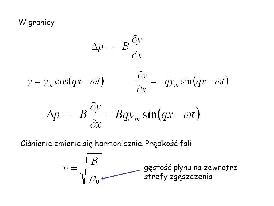 W granicy Ciśnienie zmienia się harmonicznie. Prędkość fali.