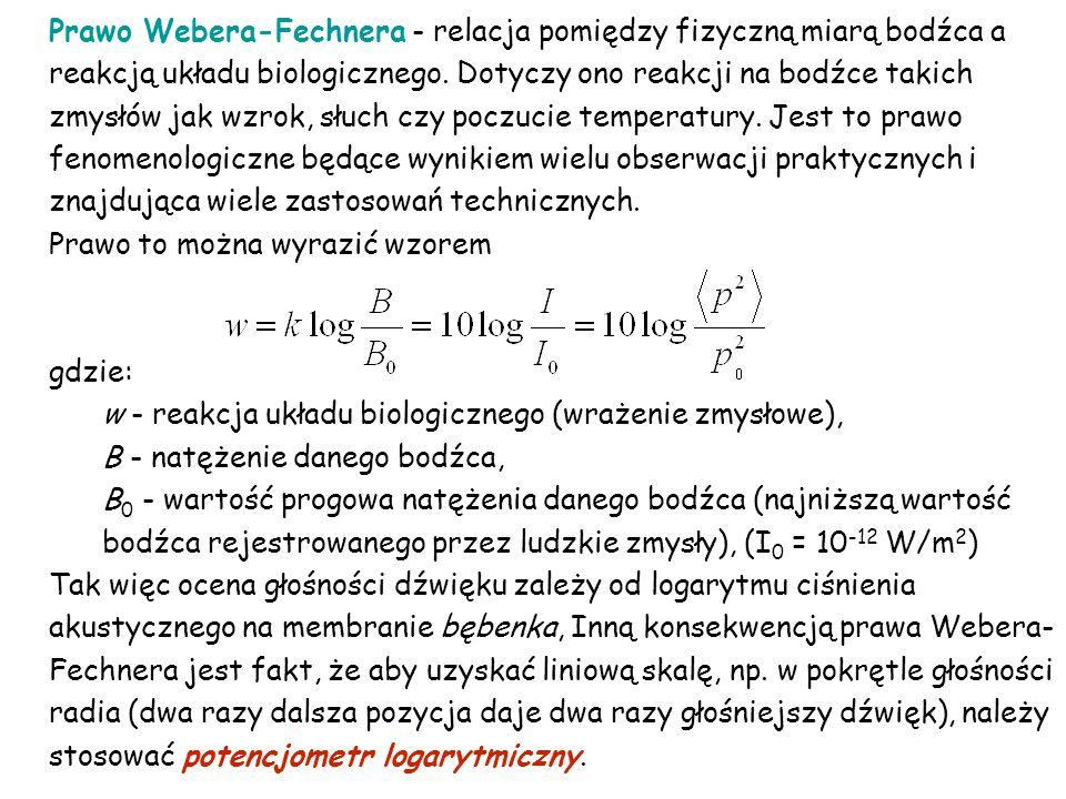 Prawo Webera-Fechnera - relacja pomiędzy fizyczną miarą bodźca a reakcją układu biologicznego. Dotyczy ono reakcji na bodźce takich zmysłów jak wzrok, słuch czy poczucie temperatury. Jest to prawo fenomenologiczne będące wynikiem wielu obserwacji praktycznych i znajdująca wiele zastosowań technicznych.