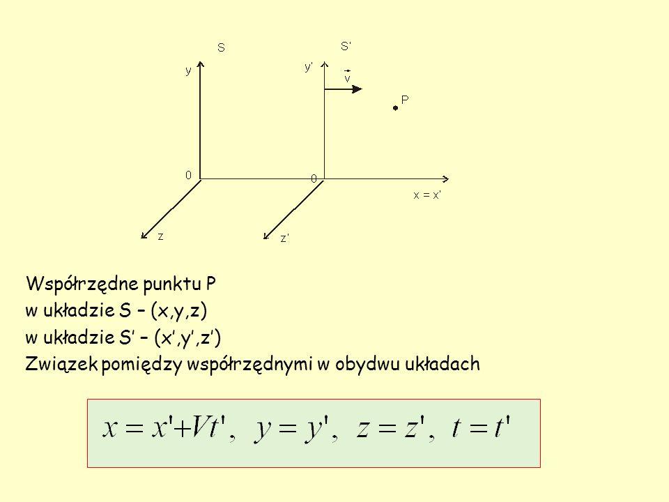 Współrzędne punktu P w układzie S – (x,y,z) w układzie S' – (x',y',z') Związek pomiędzy współrzędnymi w obydwu układach.