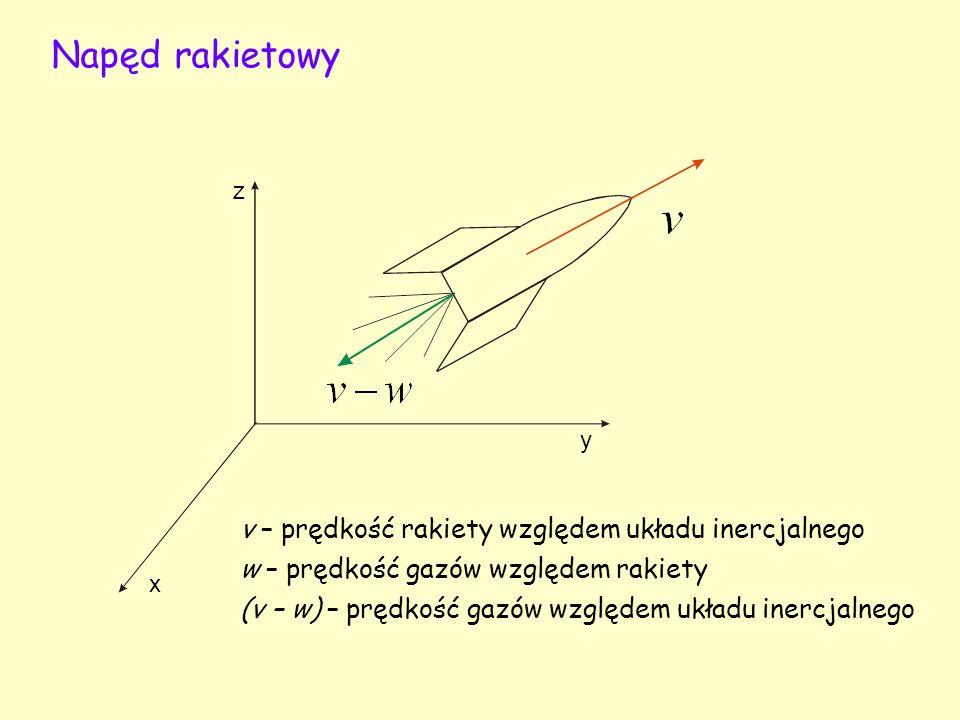 Napęd rakietowy v – prędkość rakiety względem układu inercjalnego
