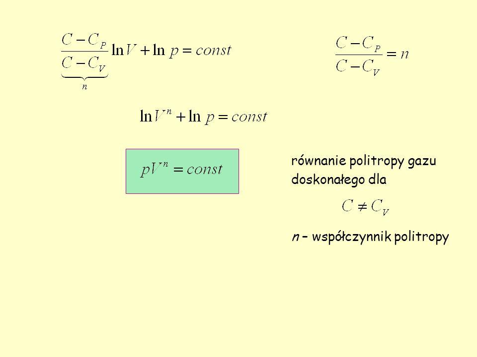 równanie politropy gazu doskonałego dla