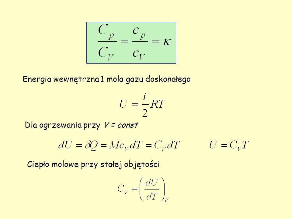 Energia wewnętrzna 1 mola gazu doskonałego