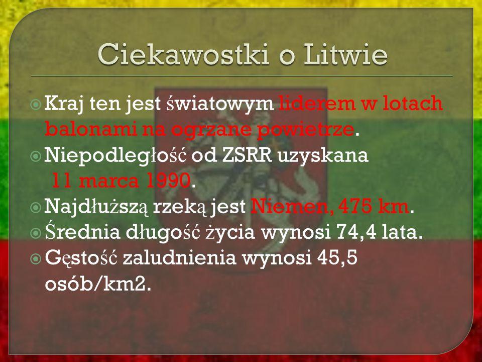 Ciekawostki o Litwie Kraj ten jest światowym liderem w lotach balonami na ogrzane powietrze. Niepodległość od ZSRR uzyskana 11 marca 1990.