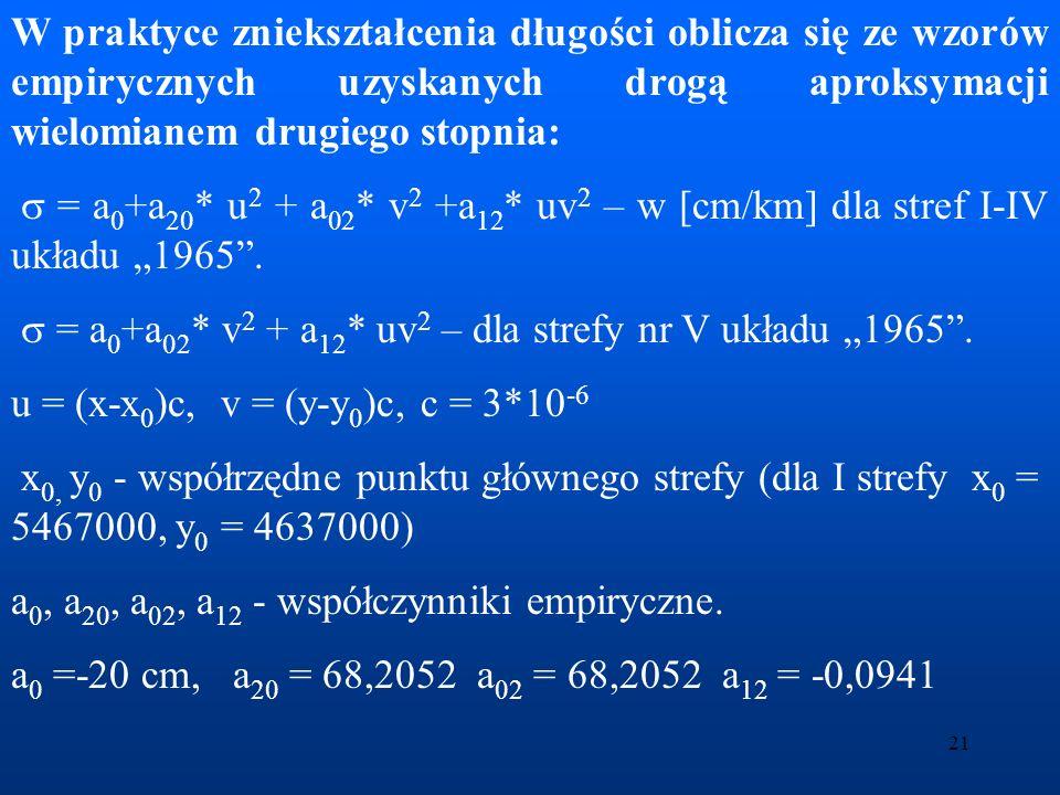 W praktyce zniekształcenia długości oblicza się ze wzorów empirycznych uzyskanych drogą aproksymacji wielomianem drugiego stopnia: