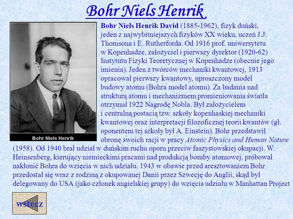 Bohr Niels Henrik wstecz