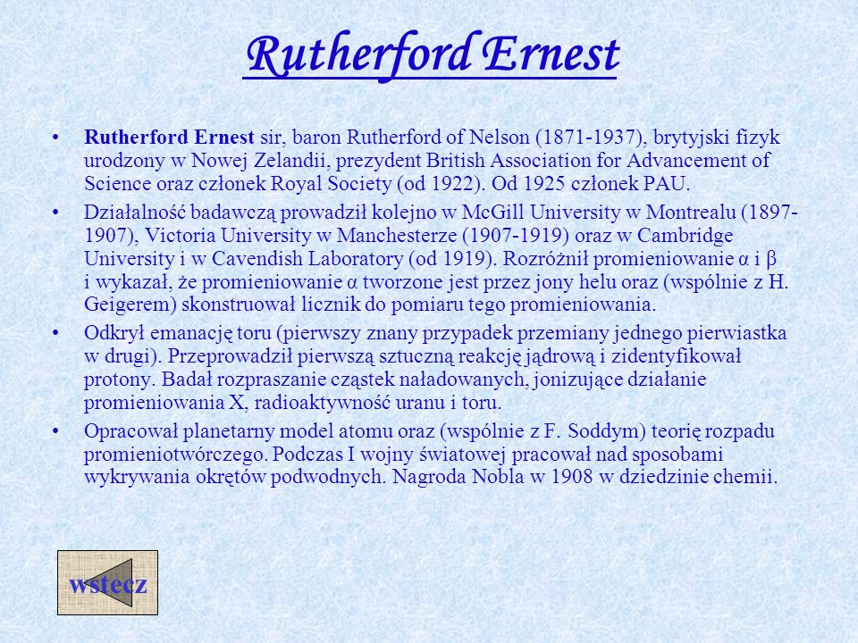 Rutherford Ernest wstecz