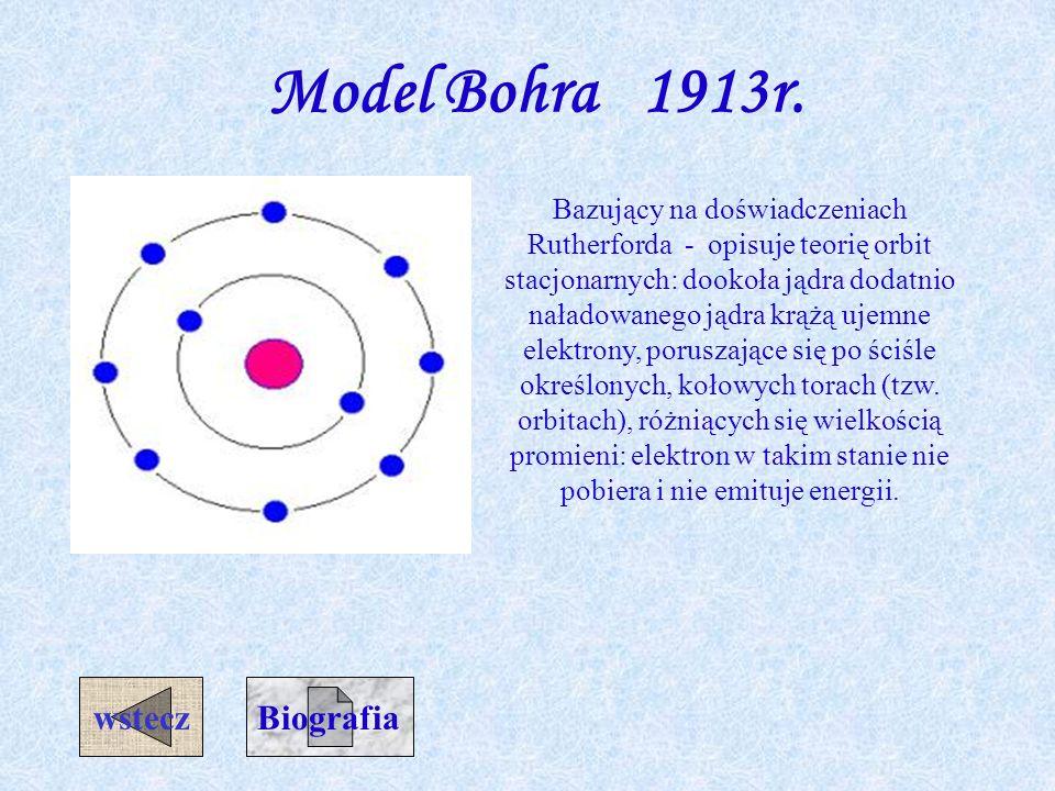 Model Bohra 1913r. wstecz Biografia