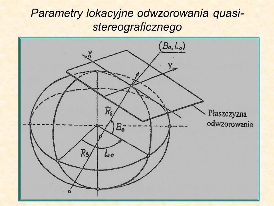 Parametry lokacyjne odwzorowania quasi-stereograficznego
