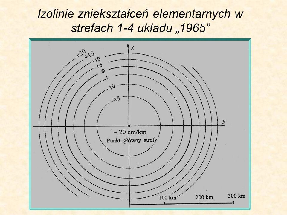 """Izolinie zniekształceń elementarnych w strefach 1-4 układu """"1965"""
