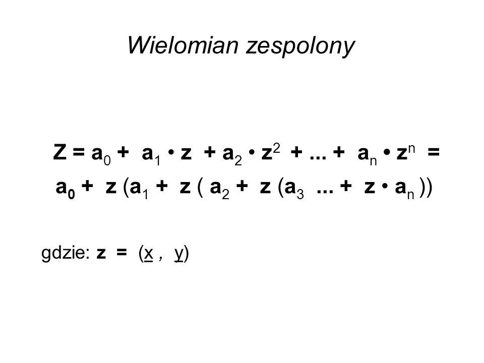 Wielomian zespolony Z = a0 + a1 • z + a2 • z2 + ... + an • zn = a0 + z (a1 + z ( a2 + z (a3 ... + z • an ))
