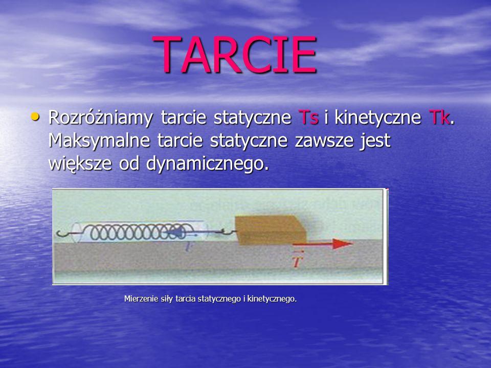 TARCIERozróżniamy tarcie statyczne Ts i kinetyczne Tk. Maksymalne tarcie statyczne zawsze jest większe od dynamicznego.