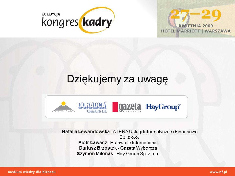 Dziękujemy za uwagę Natalia Lewandowska - ATENA Usługi Informatyczne i Finansowe Sp. z o.o. Piotr Ławacz - Huthwaite International.