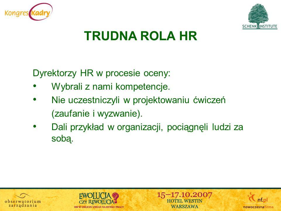 TRUDNA ROLA HR Dyrektorzy HR w procesie oceny: