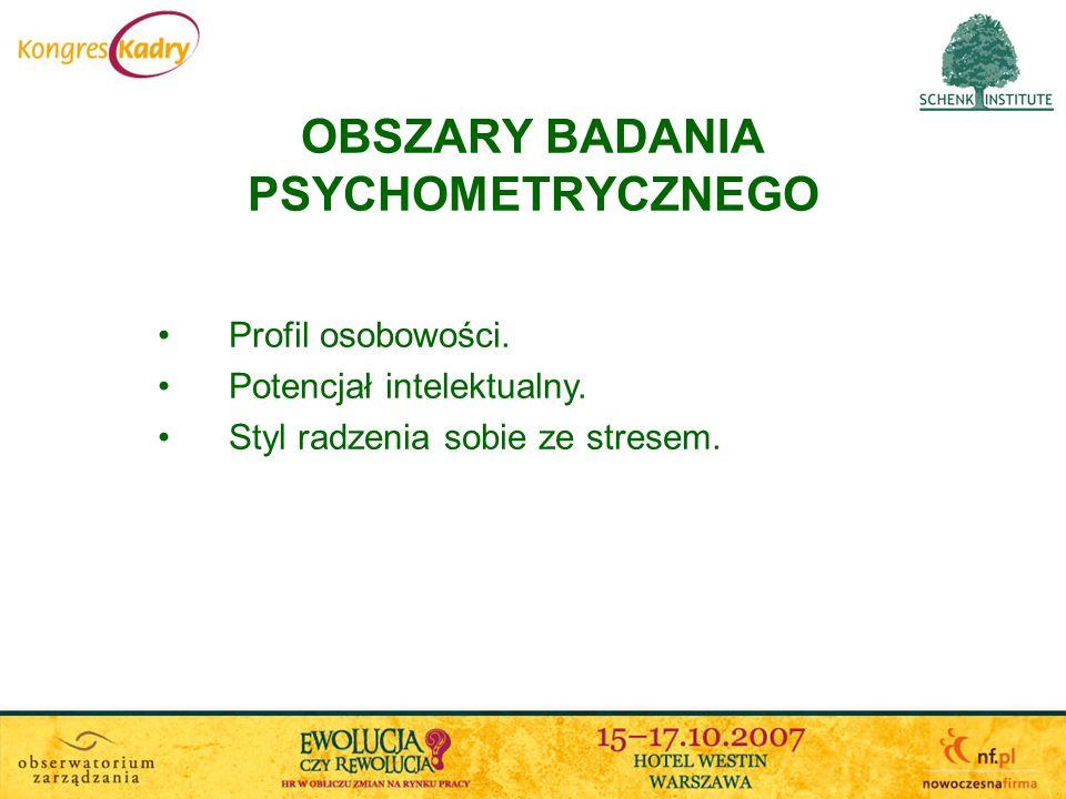 OBSZARY BADANIA PSYCHOMETRYCZNEGO