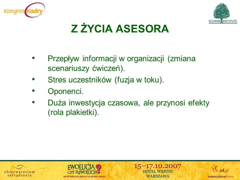 Z ŻYCIA ASESORAPrzepływ informacji w organizacji (zmiana scenariuszy ćwiczeń). Stres uczestników (fuzja w toku).
