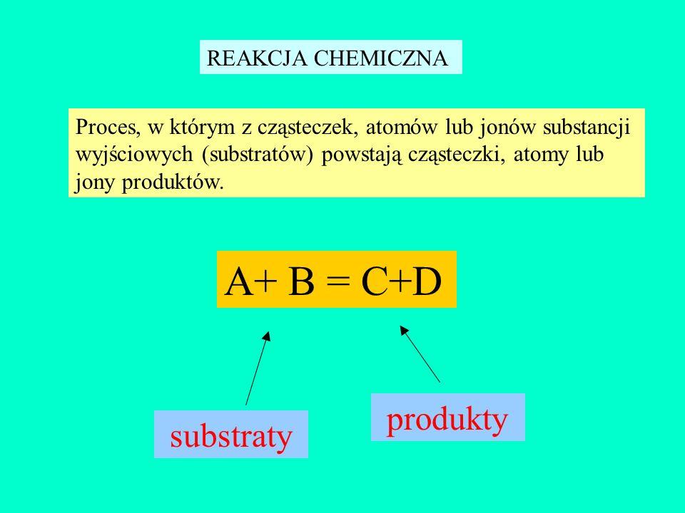 A+ B = C+D produkty substraty REAKCJA CHEMICZNA