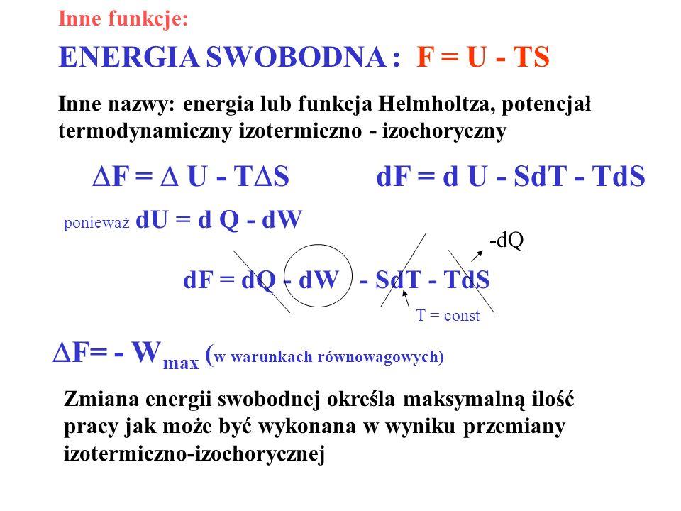 ENERGIA SWOBODNA : F = U - TS
