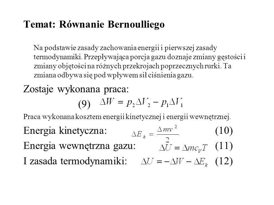 Temat: Równanie Bernoulliego