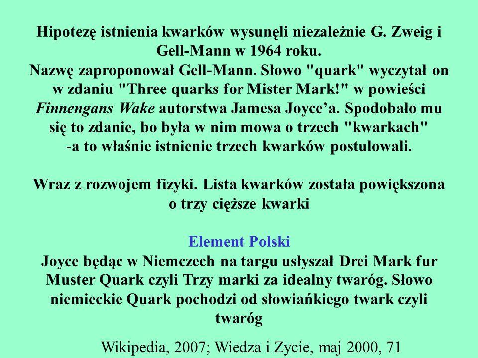 a to właśnie istnienie trzech kwarków postulowali.